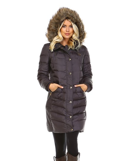 2f2bd01a8b9a6 Michael Kors Gunmetal Faux Fur Fitted-Waist Puffer Coat - Women | Zulily