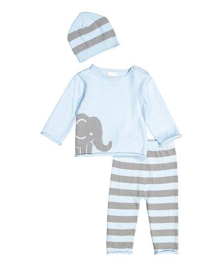 d802ec976 Tots Fifth Avenue Blue   Gray Elephant Sweater Set - Newborn ...