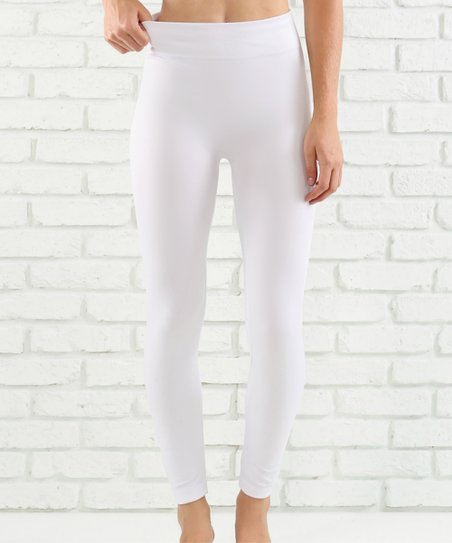 53e59af0c8734 Contagious White High-Waist Leggings | Zulily