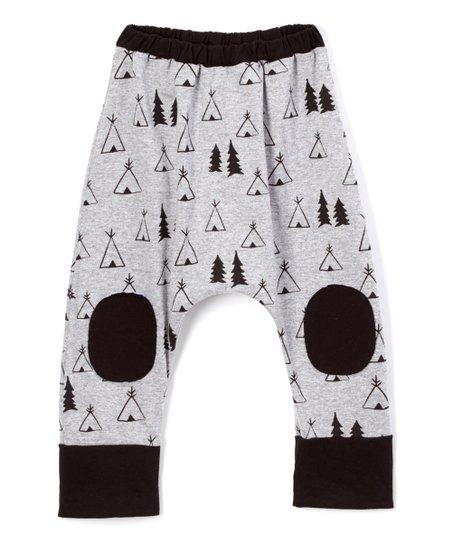 Silver & Black Tepee Harem Pants - Infant, Toddler & Kids