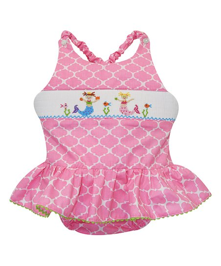 37700a77eb122 love this product Pink Mermaid Smocked One-Piece Swimsuit - Infant, Toddler  & Girls