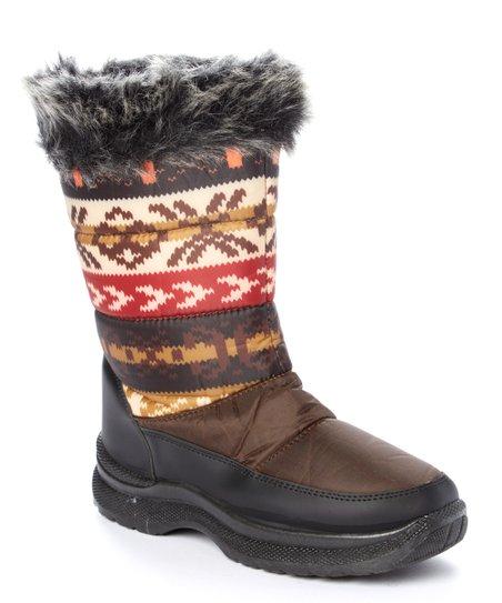 Transco Brown & Orange Fair Isle Fleece-Lined Boot - Women | zulily