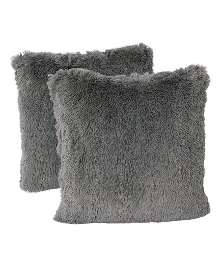 THRO Charcoal Chubby Faux Fur Throw Pillow - Set of Two  9b64a3430