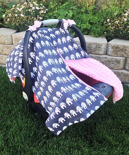 Pink Gray Elephant Car Seat Canopy