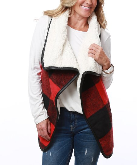 be26577adf love this product Red   Black Buffalo Check Faux Sherpa Plaid Vest