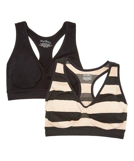 1e426db0a7 Marilyn Monroe Intimates Black   Tan Stripe Seamless Comfort ...