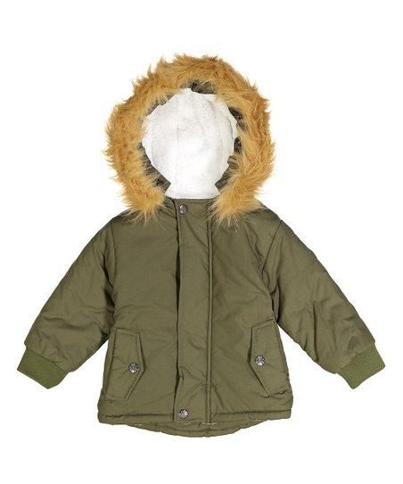 405f3b6b8de wind + thistle Green Faux Fur-Lined Hood Puffer Coat - Toddler | Zulily