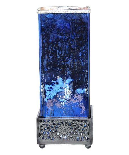River Of Goods 14 75 Blue Mercury Glass Square Jeweled Uplight Table