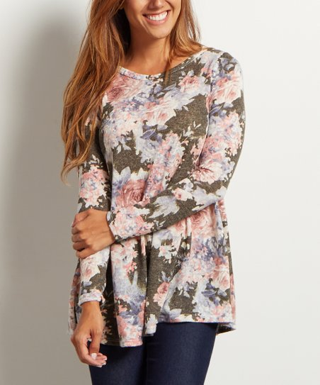 2a70071a28c67 love this product Olive Green   Pink Floral Boatneck Top