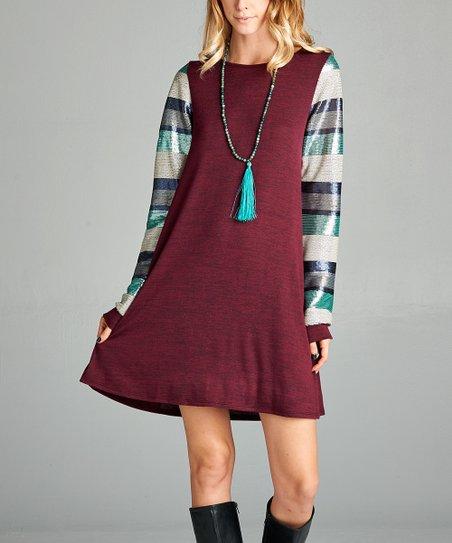c82ae033 Love, Kuza Burgundy Sequin-Sleeves Swing Dress - Women   Zulily