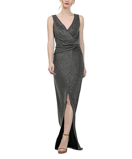 Cqbycq Silver Black Metallic Wrap Maxi Dress Zulily