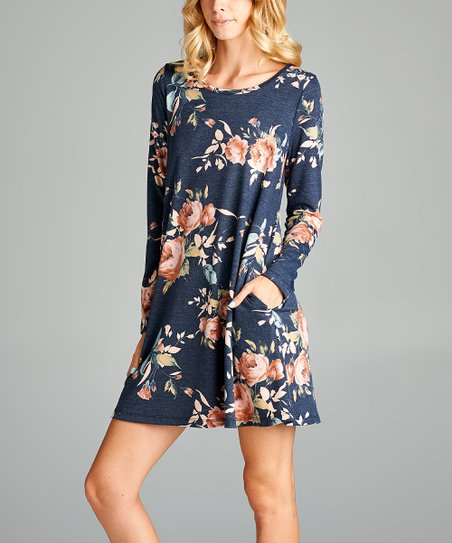 0a8a22e0c09f Love, Kuza Navy Floral Long-Sleeve Shift Dress | Zulily