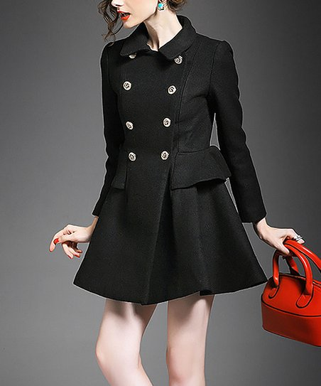 Alaroo Black Double Breasted Wool Blend Swing Pea Coat Zulily