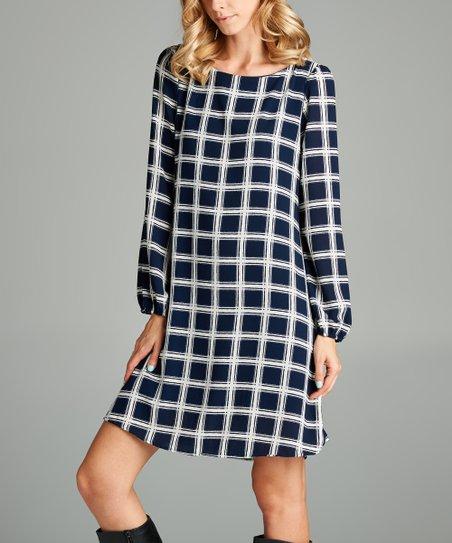 2537ca57e587 Love, Kuza Navy & Ivory Square Long-Sleeve Shift Dress | Zulily