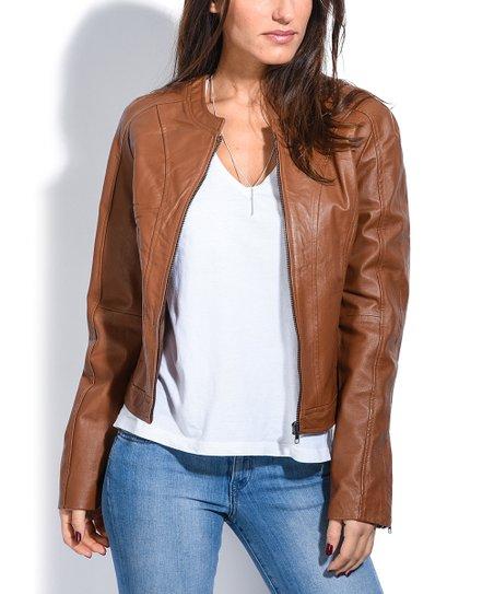 Jacqs Camel Anais Leather Moto Jacket