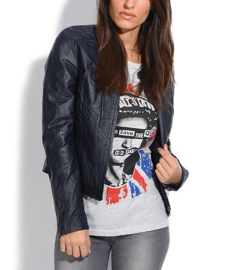 Jacqs Navy Blue Anais Leather Moto Jacket Women