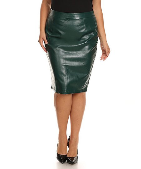 ebd1af4cb2 Nema Avenue Green Faux Leather Pencil Skirt - Plus | Zulily