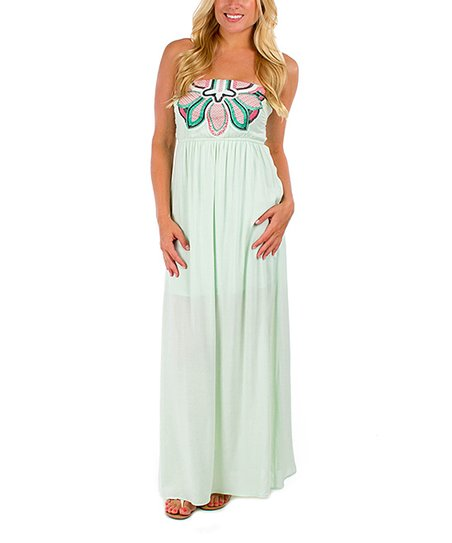 California Trading Group Mint Floral Strapless Maxi Dress - Women ... 279ab6960