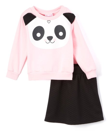 love this product Pink & Black Panda Sweater & Skirt - Infant, Toddler & Girls