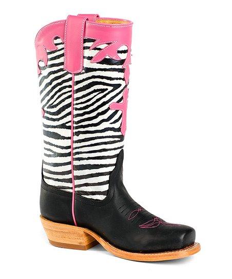 b761305ab3fc Anderson Bean Kids Pink & Black Zebra Leather Cowboy Boot - Girls ...