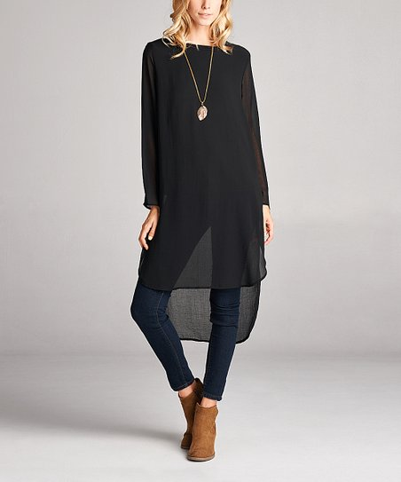 d1210d61909 Love, Kuza Black Chiffon Long-Sleeve Hi-Low Tunic Dress - Women | Zulily