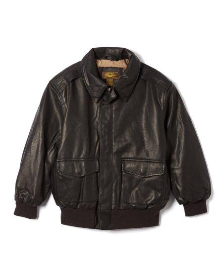 4e19e838f MOMO Kids Black Landing Leathers Faux Leather Flight Bomber Jacket - Boys