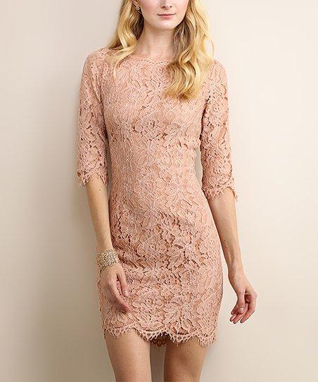 6d9b09f900ae6 Soiéblu Dusty Rose Floral Lace Bodycon Dress   Zulily