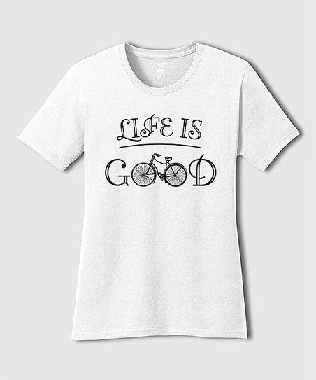 TKO tees White Bicycle 'Life Is Good' Tee - Plus