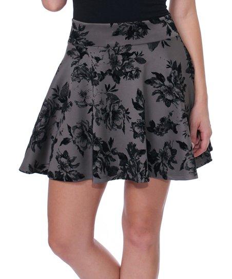 Brooke   Emma Slate   Black Floral Skater Skirt - Women  150fd202a