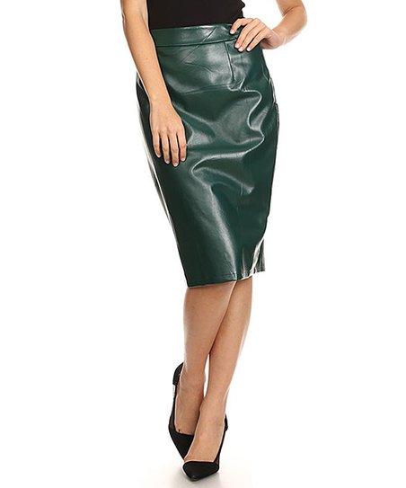 6345a74f5d Nema Avenue Green Faux Leather Pencil Skirt | Zulily