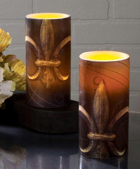 Timeless By Design Fleur De Lis Candle Set Zulily