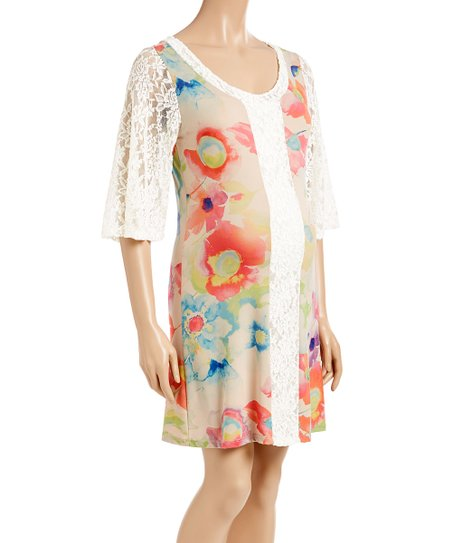9628c936dff Khloros Maternity Khloros Taupe   Ivory Floral Maternity Shift Dress ...