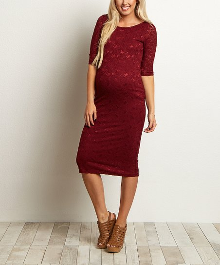 a4af197c313 PinkBlush Maternity Burgundy Lace Maternity Dress