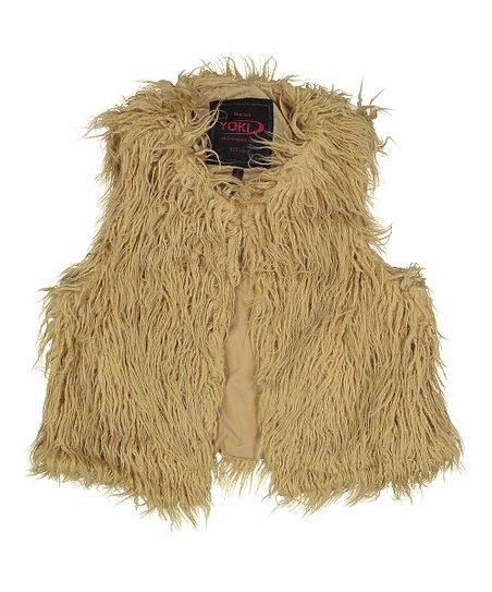 e5883c1f676d love this product Camel Shaggy Faux Fur Vest - Girls
