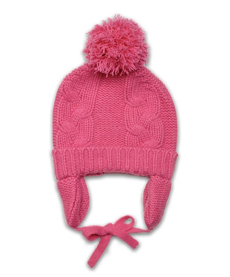 Baby CZ Bright Pink Chunky Cashmere Pom-Pom Hat - Infant   Toddler ... 05a1010809e