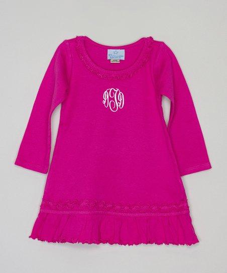 644f94f93bd Princess Linens Hot Pink Monogram Ruffle A-Line Dress - Infant ...