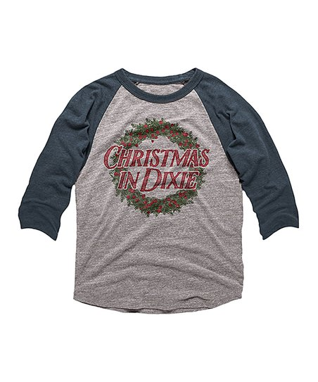 Christmas In Dixie Shirt.Faded Navy Christmas In Dixie Raglan Tee Toddler Kids