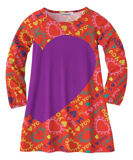 8bf3614075b5 love this product Red   Purple  I Love You  Swing Dress - Girls