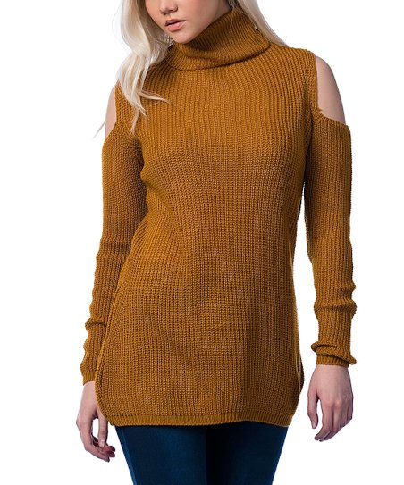 Scarlett Mustard Cutout Turtleneck Sweater Zulily