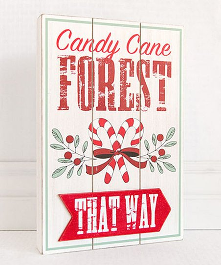 Adams Co Candy Cane Forest Wood Wall Sign Zulily