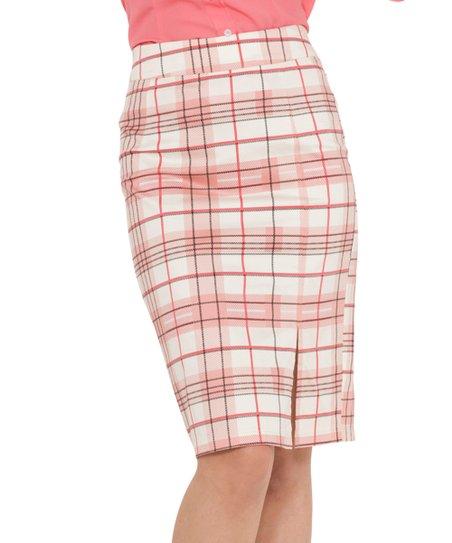 7ba6974db5 Voodoo Vixen Pink & White Plaid Pencil Skirt | Zulily