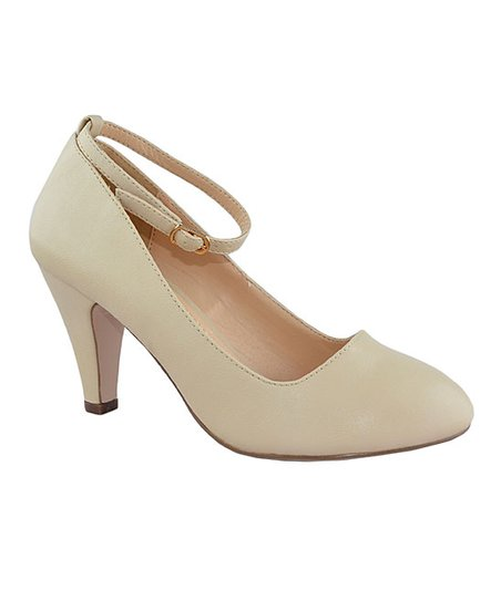 9484f47978 Chase & Chloe Nude Patent Ankle-Strap Kimmy Pump - Women   Zulily