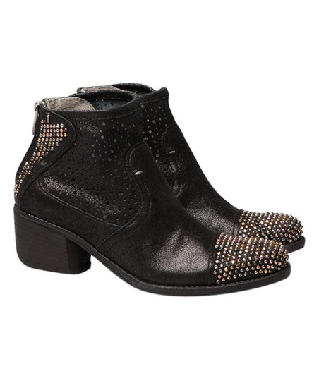 51b1e68c8b Summit by White Mountain Black Leather Galene Studded-Toe Ankle Boot ...