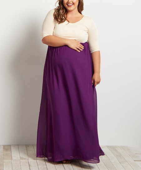 6df2f4470a8b6 love this product PinkBlush Purple Chiffon Color Block Maxi Dress - Plus