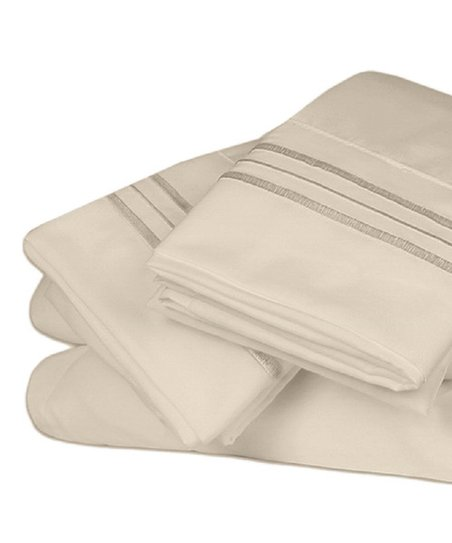 Deep Sleep Collection Sheets Ivory 1800 Thread Count Microfiber