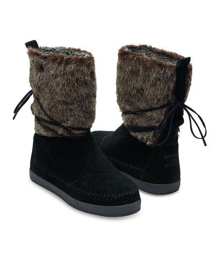 18079b92d43 TOMS Black Suede   Faux Hair Nepal Boot - Women