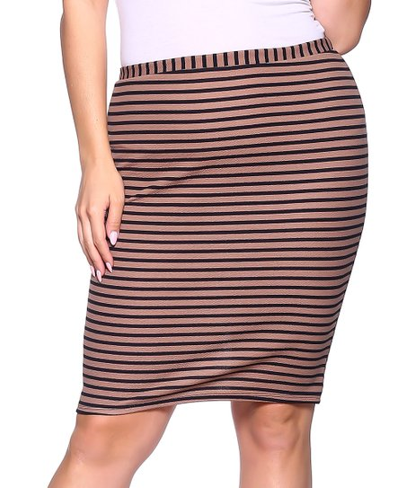 7c66791a3b Hot Ginger Mocha & Black Stripe Back-Slit Pencil Skirt - Plus | Zulily