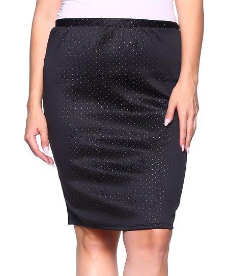 5365121b7b Hot Ginger Black & Gold Pin Dot Back-Slit Pencil Skirt - Plus | Zulily