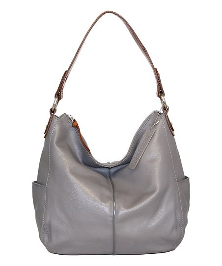 Stone Water Lily Blossom Leather Hobo
