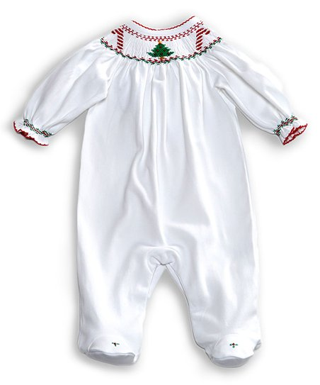 a6994df85 love this product White Smocked Christmas Bishop Footie - Newborn & Infant